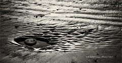 A rock in a pool (rhfo2o - rick hathaway photography) Tags: rhfo2o canon canoneos7d elmer elmersands bognorregis bognor westsussex beach sand sea seaside bw blackandwhite mono
