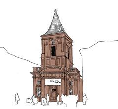 Die Kleine Kirche, Karlsruhe_February 2017 (stevefaradaysketches) Tags: kleinekirche baroque classical church urbansketch inksketch