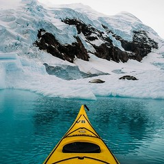 Our first excursion in the kayaks was unreal. Just to be free on the icy water was like falling into a daydream. The wind was calm and the sky cloudy. I paddled slow, made to feel small among such tremendous beauty. Near the end of our outing I rounded an