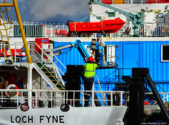 Scotland Greenock the ship repair dock aft navigation lights  of car ferry Loch Fyne being worked 27 February 2017 by Anne MacKay (Anne MacKay images of interest & wonder) Tags: scotland greenock ship repair dock caledonian macbrayne car ferry loch fyne xs1 27 february 2017 picture by anne mackay