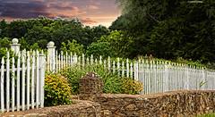 Advance Mills Fence (creepingvinesimages) Tags: fence stonewall topaz adjust pse11 hfffencewallgardensmoody skyadvance millsvirginianikond7000picket