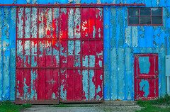 I'd rather be blue... (bettyinparis) Tags: blue ohio red building abandoned peeling paint warehouse faded