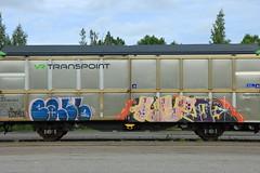 Freights (Thomas_Chrome) Tags: street streetart art train suomi finland graffiti moving europe steel cargo illegal target nordic finnish freight vr benching transpoint