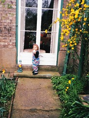 Daisy in the Garden 1998 (Bury Gardener) Tags: uk family friends england suffolk 1998 relatives oldies 1990s eastanglia burystedmunds