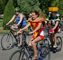 Pizza with Wisconsin Cheese (Colorado Sands) Tags: costumes people usa bike bicycle america festive fun cycling cyclists us costume colorado humorous unitedstates denver september bicycles pizza celebration cycle transportation fundraiser touring biketour citypark newbelgium cheesehead bikerides packerfan 2015 ciclistas bikeparade tourdefat funloving milehighcity sandraleidholdt bicycletours bikedenver