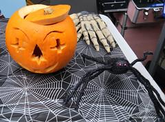 Halloween Fun - Morpeth Northumberland England (WanderingPJB) Tags: england northumberland morpeth halloween pumpkins spider hand skeleton scary img colour orange colourfulworld cmwdorange smileonsaturday spooktacular
