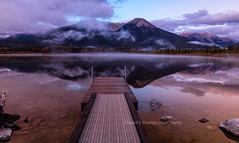 View from The Dock at Dawn, Vermillion Lake (chasingthelight10) Tags: travel mist canada photography landscapes events places things banffnationalpark canadianrockies vermilionlake