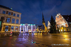 Blackheads house (TranceDrumer) Tags: old city travel urban house black color building tower art tourism church monument st statue architecture night dark square evening town ancient europe place image head military famous landmark scene baltic latvia peter human national sword knight shield local peters riga hause destinations blackheads