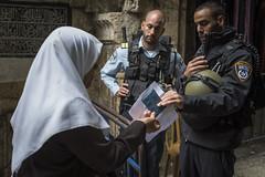 Refused passgae to Al Aqsa mosque - Jerusalem (M. Khatib) Tags: woman palestine islam jerusalem hijab soldiers isreal palestinians alaqsa occupation