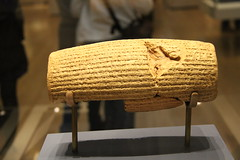 The Cyrus Cylinder (about 539 BC) (praja38) Tags: life uk england records london art history museum writing temple persian ancient king iran display britain text caps culture historic empire document cylinder british cyrus script capture britishmuseum artifact cuneiform babylon scribe sumer capricorn reign achaemenid marduk akkad cyrusthegreat cyruscylinder achaemenidempire