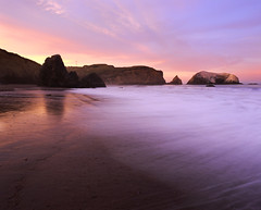 New Dawn on Rodeo Beach (RZ68) Tags: county morning light sea sky motion color reflection bird beach wet water rock clouds sunrise dawn bay coast sand san francisco rocks long exposure surf angle south marin wide wave velvia area headlands rodeo provia stacks rz67 ggnra e100
