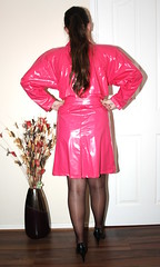 Pink pvc mac (sheerglamour) Tags: leather fetish dress heels satin pvc wiggle nylons hobble glamoursheerglamour