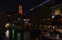 (elnina999) Tags: christmas old city bridge winter panorama reflection tree nature water colors architecture night sanantonio marriott river dark season lights restaurant canal san colorful downtown cityscape texas dusk walk fallcolors scenic illumination historic courthouse cypress antonio riverwalk marriot attraction sanfernandocathedral thetorchoffriendship nikond5100 towerofmaricas