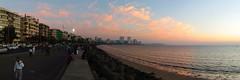 Mumbai Marine Drive (fzlxk) Tags: mumbai bombay marinedrive road beach seashore city sunset inde travel voyage asia asie travelphotography photographiedevoyage plage ville couchédesoleil india panorama cityscape