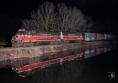 For posterity's sake... (Night Stalker Photo Works, LLC.) Tags: providenceworcester pw thompson b398 b408 ge reflections freightrailworks nighttime mixedfreight railroading no431here nodroneseither