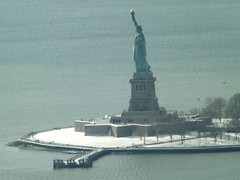 Aerial View, Snow View, Statue of Liberty, Liberty Island, Hudson River, One World Observatory, World Trade Center Observation Deck, New York City (lensepix) Tags: aerialview snowview oneworldobservatory worldtradecenterobservationdeck newyorkcity observationdeck