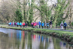Walkers reflected .... (Halliwell_Michael ## Thanks you for your visits #) Tags: calderdale westyorkshire calderhebblecanal halifax nikond40x 2017 winter walkers trees baretrees towpath reflection reflections water reflectionslovers colourartaward
