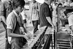 Street vendor (pons5607_3) Tags: charcoal street vendor chicken monochrome thailand asia bangkok sony ilca77m2 dt1750mmf28 man male a77m2