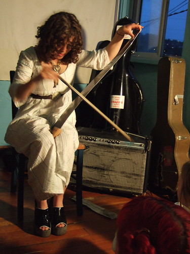 This is yours truly playing the saw at the home of the Degenerate Art Ensemble in 2006