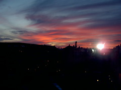 Udsigt fra 4. sal (UnoBrix) Tags: panorama solnedgang lybkgade