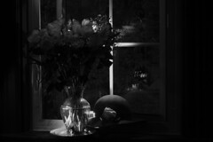 Homage to Josef Sudek - The Open Window (Indy Charlie) Tags: roses stilllife hat studio inspired made homage directedlight utatapayshomage utatafeature josefsudek itemsgiventome thelittlestdinosaur inoticedalotofwindowsillsinhisphotographs utatamastersudek