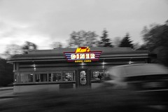 Mom's Diner (quiddle.) Tags: longexposure blackandwhite bw architecture cutout driving cleveland diner colorized streamlinemoderne