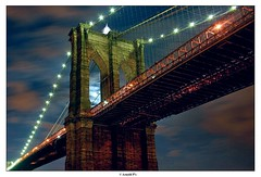 Brooklyn Bridge (Arnold Pouteau's) Tags: nyc newyorkcity longexposure moon newyork night brooklynbridge