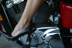 his bike.... her friend.... (babygggeee) Tags: foot shoe leg ankle