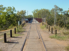 Where the old pine creek railway crossed the Katherine River (yewenyi) Tags: railroad bridge vacation holiday abandoned walking geotagged iron track nt katherine railway australia aus footpath traintrack northernterritory oceania auspctagged pctagged pc0850 pinecreekrailway geo:lat=1446161 geo:lon=13225728