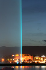 Tonight the fountain was blue (nathalie booth) Tags: switzerland europe geneva jetdeau bluegenevafountain fountainbynight beautifulgeneva withfleur spectacularswiss
