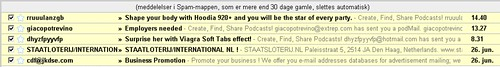 Podmail spam offering Viagra and job opportunity