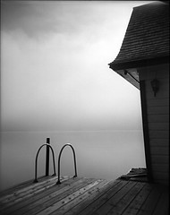 Boathouse-I (Buck Lewis) Tags: bw lake 120 holga adirondacks boathouse thephotoholic