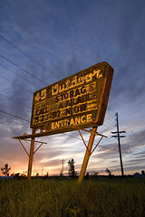 The 45 Outdoor (Lost America) Tags: sunset lightpainting abandoned sign wisconsin ruins wideangle drivein roadside magichour theinterestingest