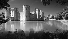 Bodiam Castle through trees - by simpologist