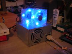 on-dark (sleepyinnaptown) Tags: blue fan led psu blueled 80mm 200w hackedpsu 80mmfan