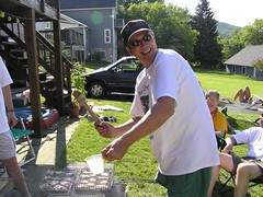 Rip hamming it up (Knile) Tags: food ny chicken cooking geotagged 2006 grill barbecue corning basting chickenday