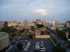 Evening View from The Jefferson - Room 606 (CourtneyMay) Tags: skyline hotel downtown july 2006 richmond weekendtrip roomview richmondva