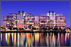 Docklands NAB Building (aumbody images) Tags: city light colour reflection water architecture night buildings australia melbourne victoria docklands hdr lovephotography aumbodyimages nabbuilding abigfave