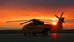 Cormorant Sunset (Mark Veitch) Tags: sunset red sky rescue orange canada tag3 taggedout clouds canon newfoundland fire airport tag2 tag1 tail helicopter cormorant airforce runway blades sar rotary searchandrescue ch149 s3is agustawestland
