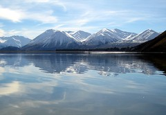 Taylor Range reflected in Lake Heron - by Mollivan Jon