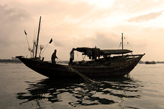 Fishing Boat - Sepia (Life in AsiaNZ) Tags: ocean china sea sepia canon boat fishing asia chinese powershot    beihai  guangxi        lifeinnanning flickrgiants