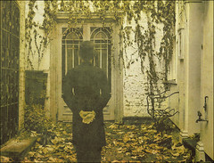 . The Semblance Of Self . (3amfromkyoto) Tags: old autumn windows selfportrait man male abandoned me hat leaves wall self bravo gate doors top seat pipe ivy courtyard tophat tap deserted semblance 3amfromkyoto flickr:user=3amfromkyoto