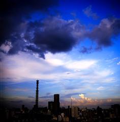 Summer Ambience (TommyOshima) Tags: 6x6 japan skyline clouds tokyo shinjuku f28 schneider exakta rvp 80mm xenotar exakta66