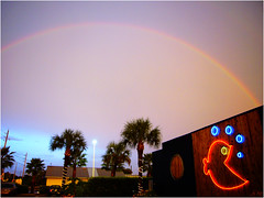 yesterday after the storms (Bravo_Kilo) Tags: beer rain weather bar rainbow florida rainbows pjsseashack leicaclux1 8232006