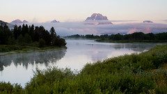 Sunrise at Oxbow Bend (Robby Edwards) Tags: vacation mountains bird water animal tag3 taggedout sunrise river nationalpark tag2 tag1 quality wildlife snakeriver wyoming mountmoran grandteton grandtetonnationalpark americanwhitepelican payitforward oxbowbend specland specnature abigfave