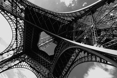 Eiffel the Spider (Toni Blay) Tags: voyage trip bw holiday paris france topf25 architecture topf50 eiffeltower eiffel explore pointofview torreeiffel great5 pow great1 great4 great2 great3 challengeyouwinner abigfave toureiffer