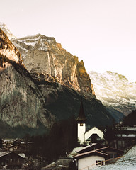 Sunset at 3pm (noberson) Tags: sunset mountain mountains church lauterbrunnen schweiz switzerland alps glow alpenglühen vintage look cliff rocks rock winter