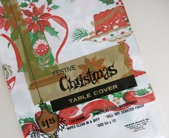 Festive Christmas Table Cover by Mid-State Products Co. (hmdavid) Tags: vintage christmas festive table cover midstate products midcentury art illustration holidays