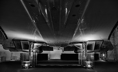 Concorde's Belly (Ryan J. Nicholson) Tags: lighting blackandwhite wings aircraft aviation jet belly concorde concord tones britishairways highdynamicrange airliner avation