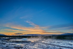 Geysir bubble at Dawn - Geysir (Captures.ch) Tags: morning travel blue autumn red sky orange white black nature water fountain clouds sunrise landscape dawn iceland rocks europa gray violet bubbles blow steam september geothermal geysir haukadalur 2015 stokkur geothermalarea hvítáriver